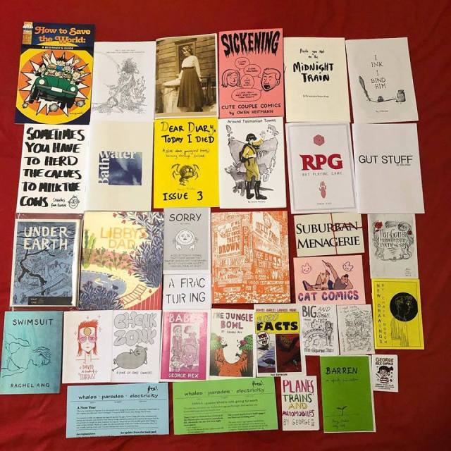 A photo of about 30 zines, of many different sizes and subject matter.